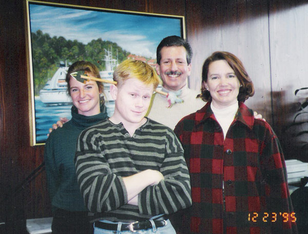 The SCL Marketing Team in December 1995: Kim, Mark, Bill, and me