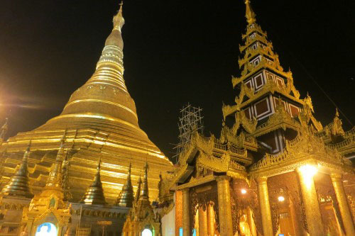 Buddha Building and the Shwedagon Paya at night in Yangon, Myanmar