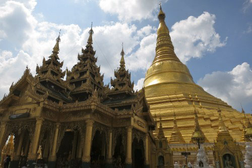 Buddha Building and the Shwedagon Paya in the day in Yangon, Myanmar
