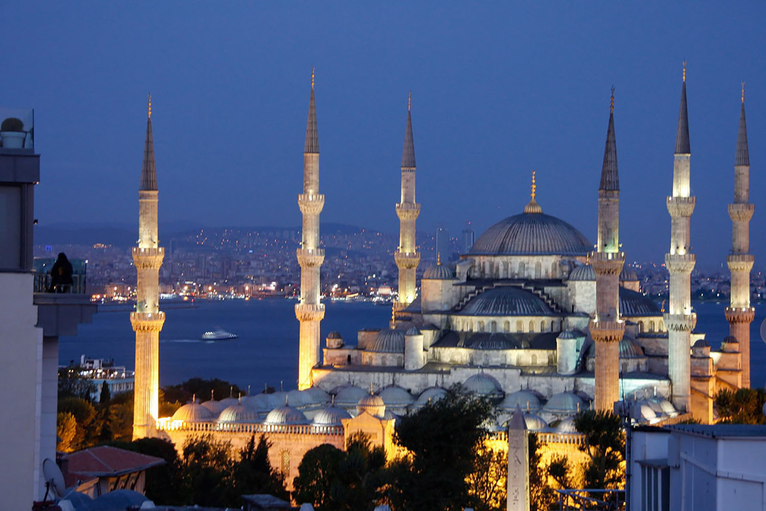 Blue Mosque in Istanbul at night, via Azamara Club Cruises