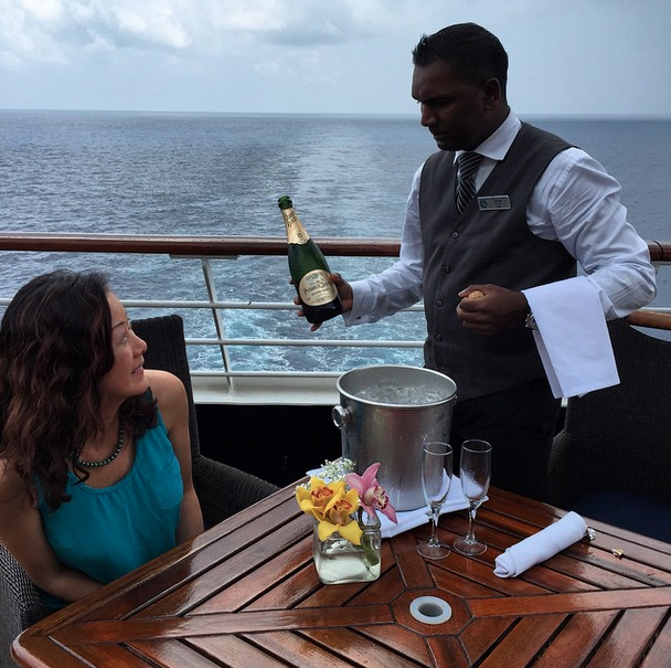 Afternoon bubbly in the Bay of Bengal during a luxury voyage with Azamara.