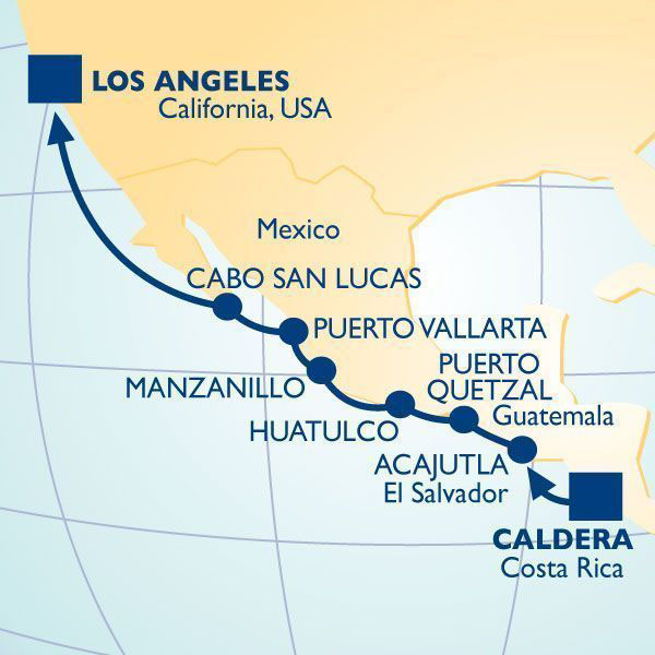 Cruise from Los Angeles to Costa Rica, and visit some of Mexico's best port cities.