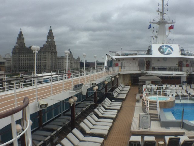 Azamara Quest cruise ship docked in the heart of Liverpool, England.