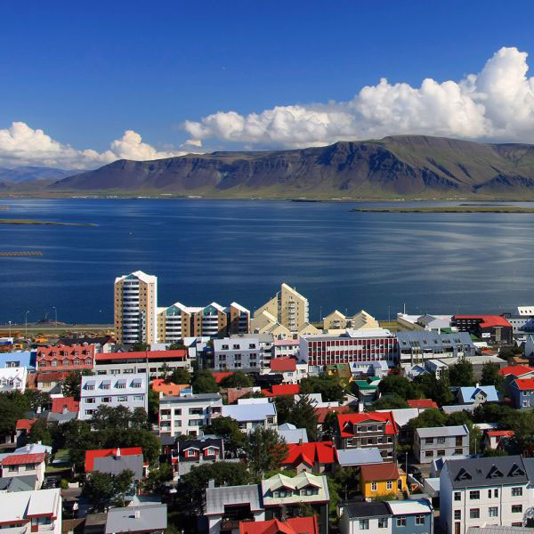 An overhead image of Reykjavik, Iceland, on a sunny day.