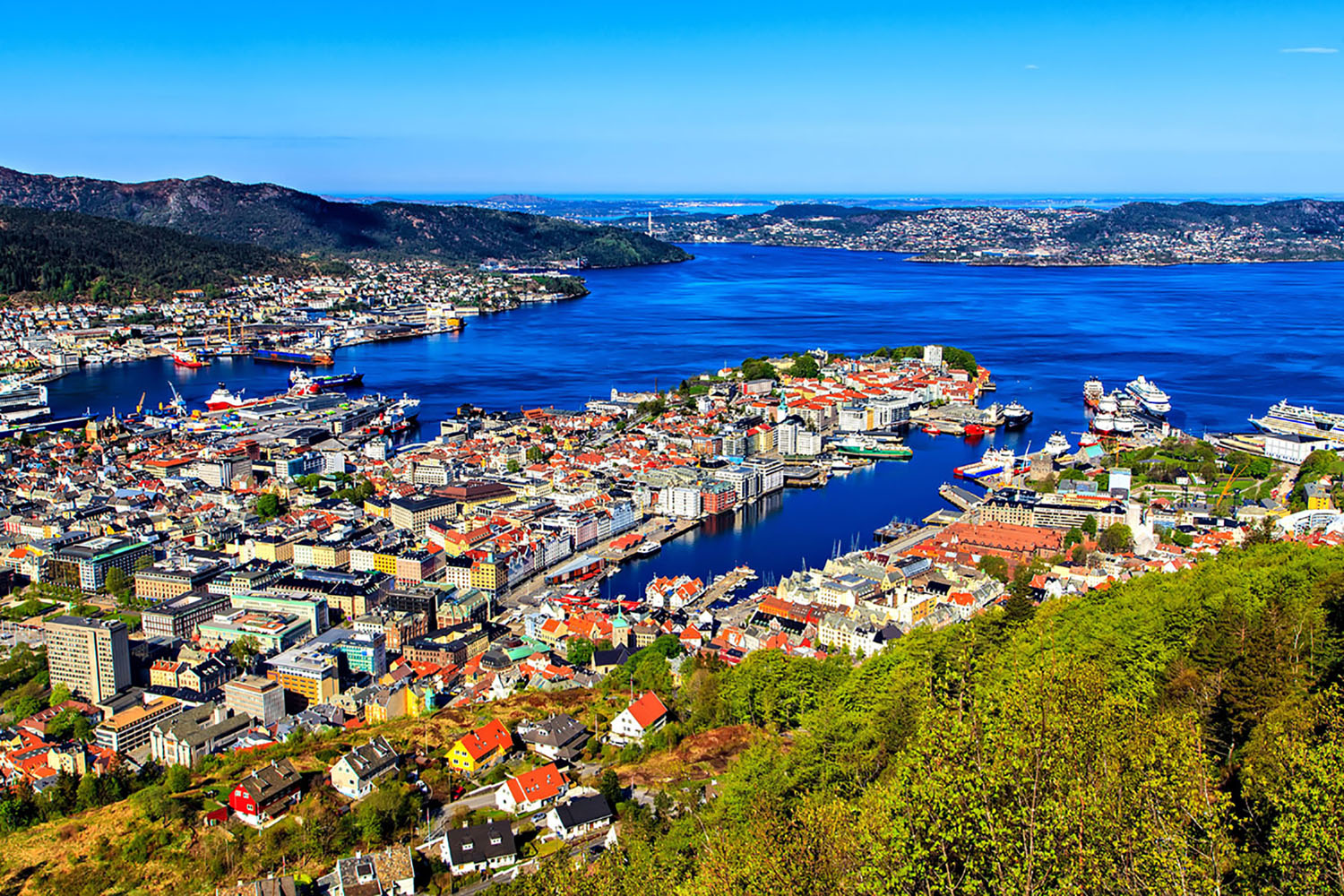Bergen, Norway is a charming town. Head to the top of the mountain for great views.
