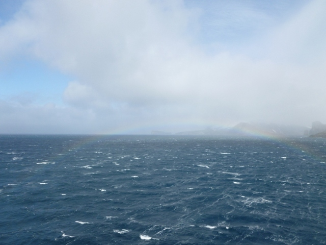 Winds up to 55 knots............blowing up a mist and creating a rainbow