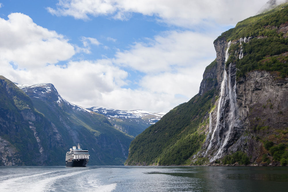 Cruising Geirangerfjord among the Seven Sisters waterfalls in Norway.