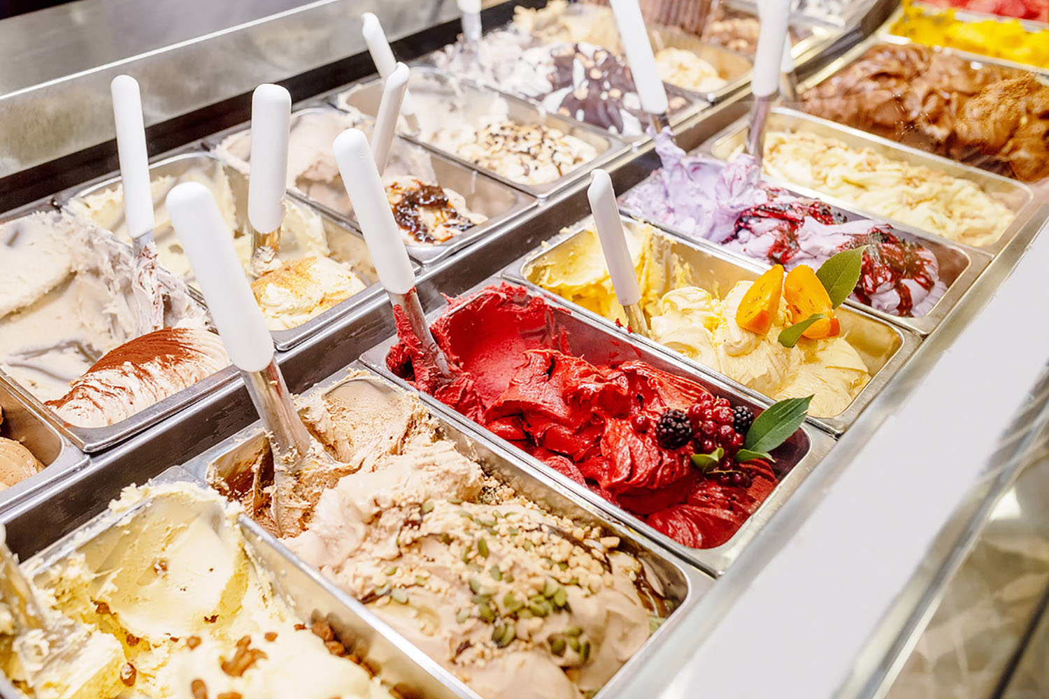 Different flavours of gelato in a parlour