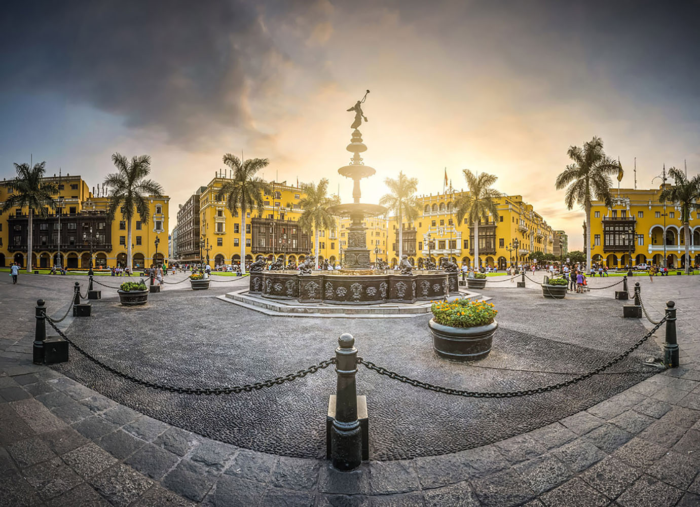 Antique iron pool of the main square of Lima, Peru.