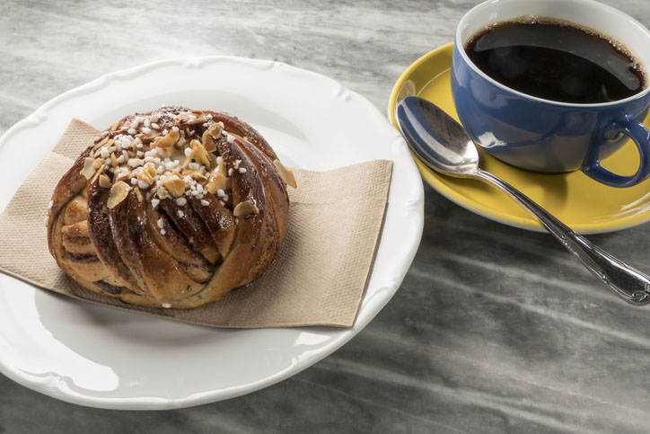 A coffee and a cinnamon bun in Stockholm, Sweden