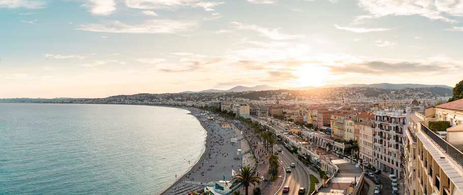 A cityscape panorama of the city Nice in the south of France