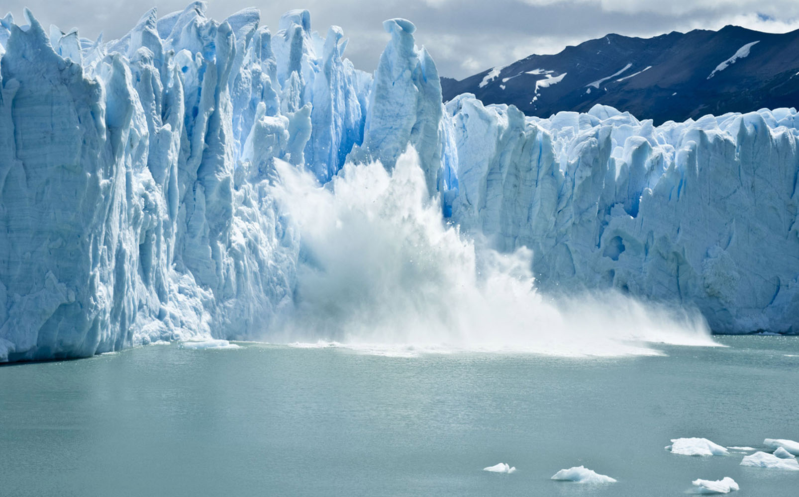 Breaking ice formations falling from Perito Moreno Glacier