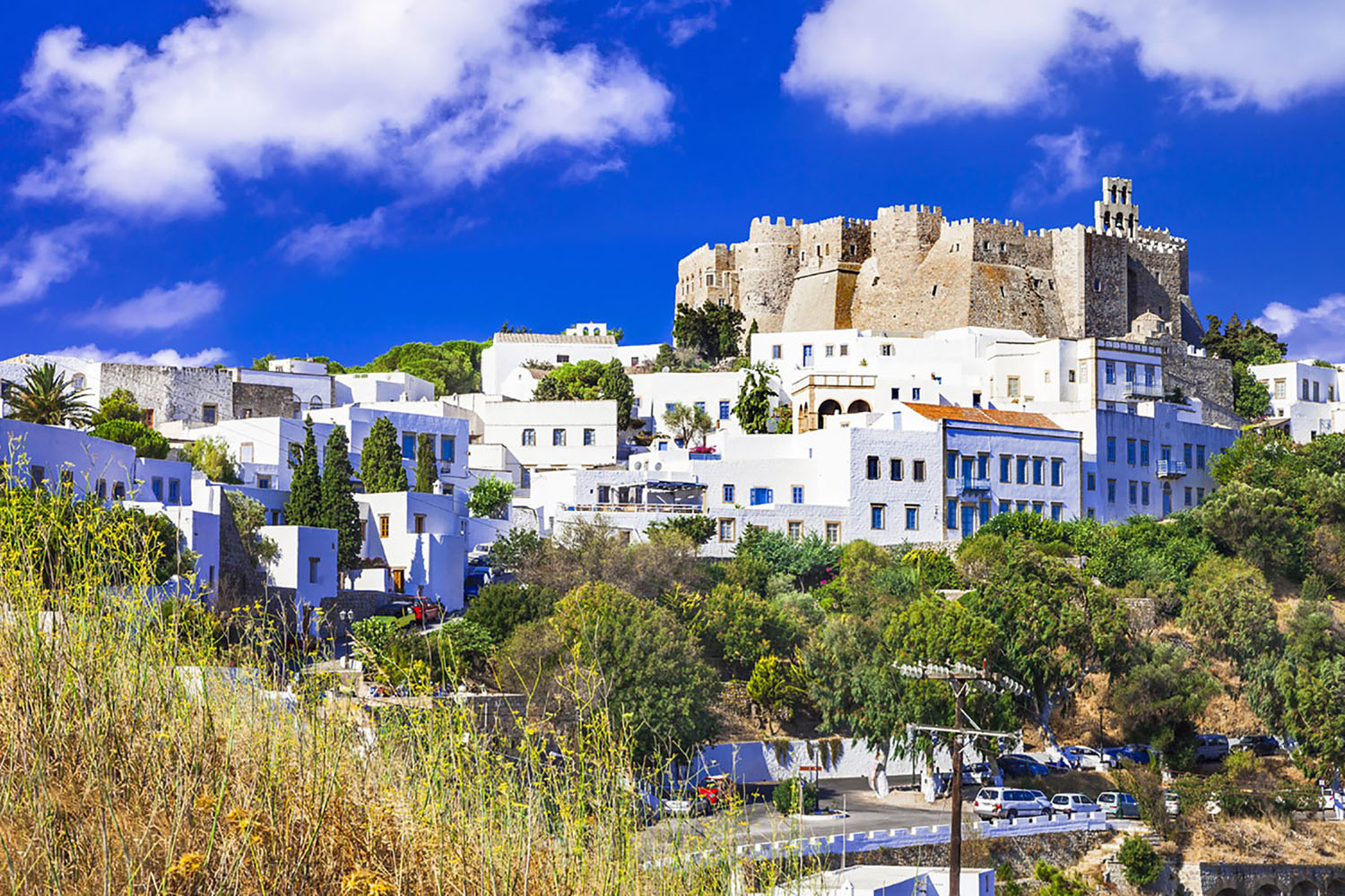The Monastery of St. John overlooking the town of Patmos, Greece
