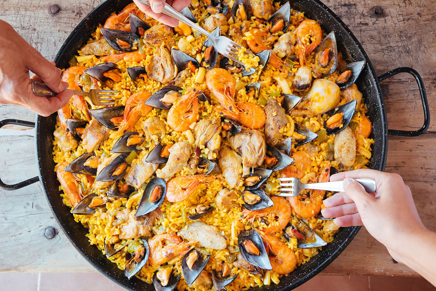 A dish of Spanish paella.