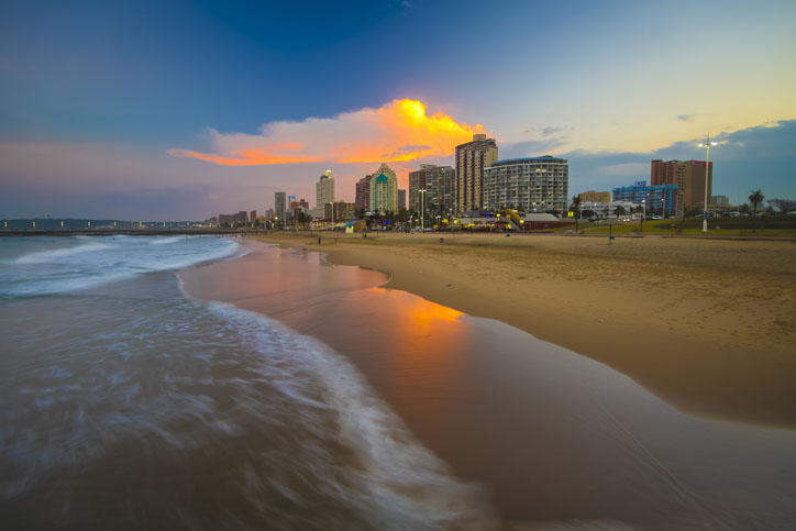 Durban, South Africa beachfront at sunset
