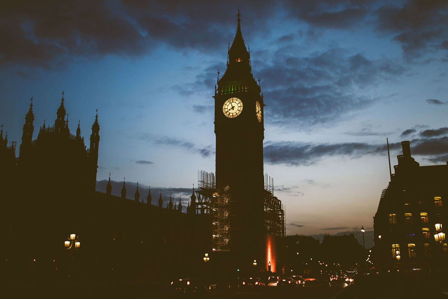 A spooky, nighttime image of Big Ben in London.