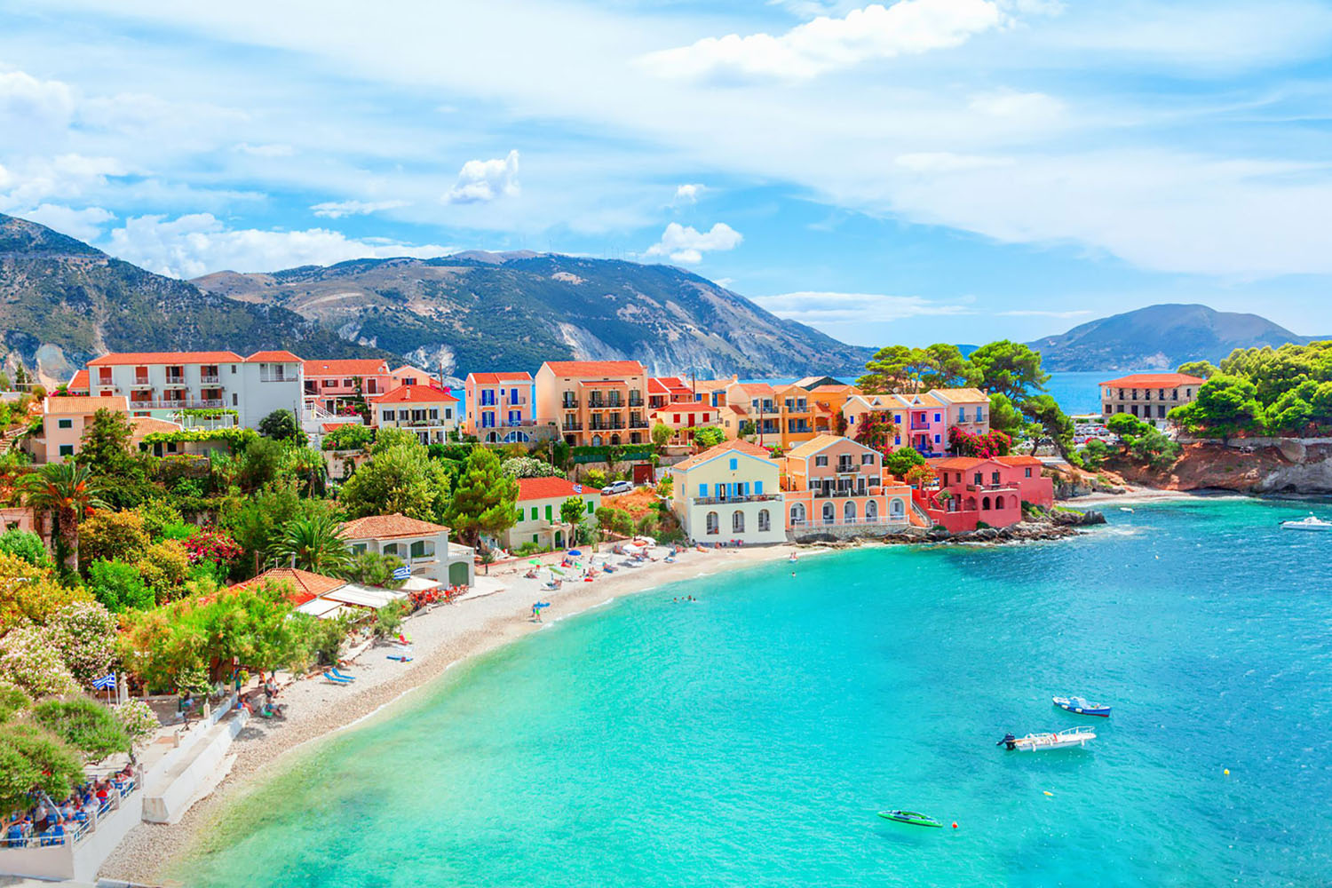 The village of Assos in Cephalonia, Greece with beautiful turquoise water