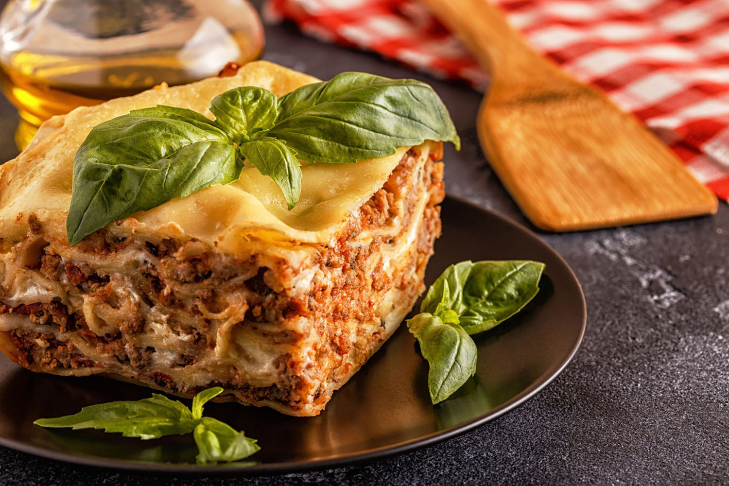 Vincisgrassi made with minced beef bolognese sauce and bechamel sauce