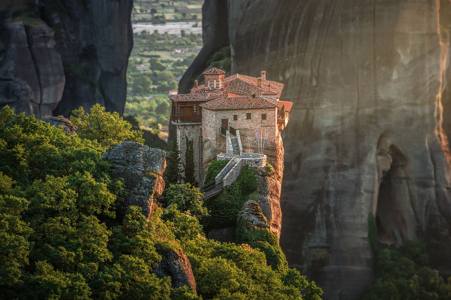 Roussanou Monastery at sunset in Meteora, Greece