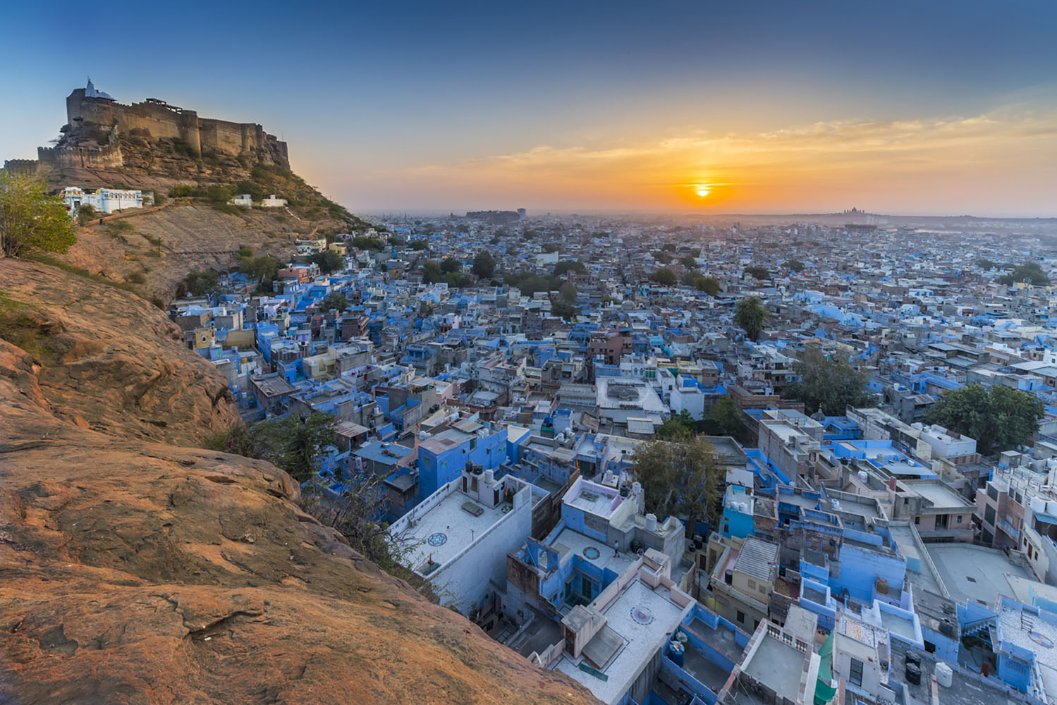 Mehrangarh Fort in The Blue City, Jodhpur. Rajasthan, India