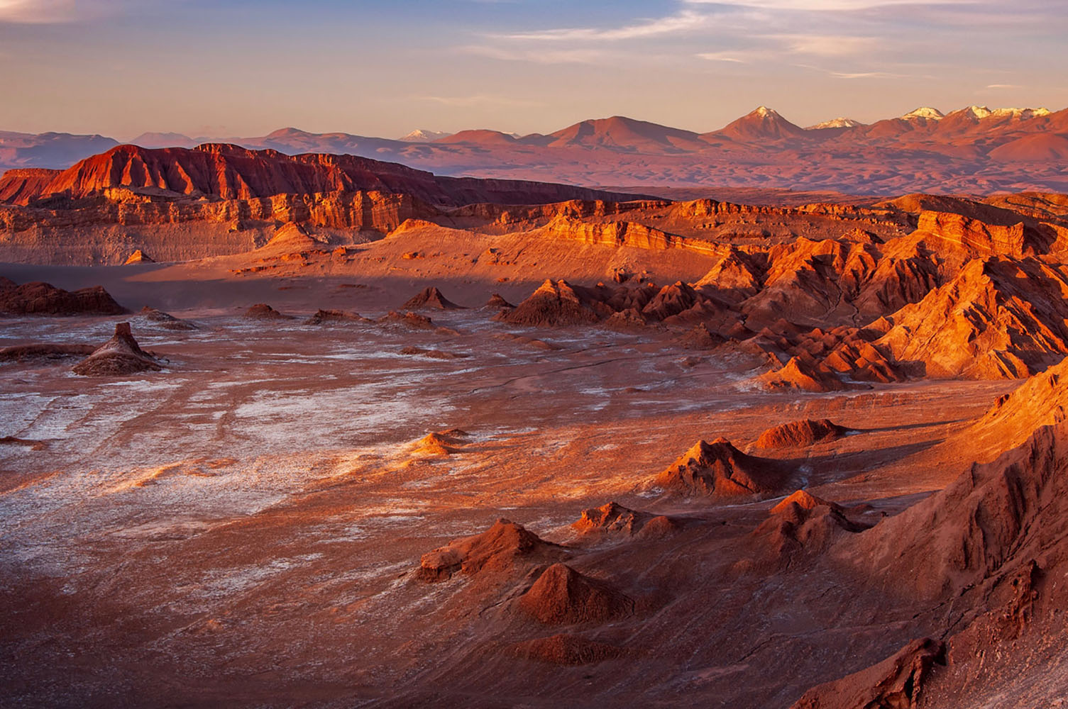 Sunset and strong shadows in the Moon Valley of Atacama desert
