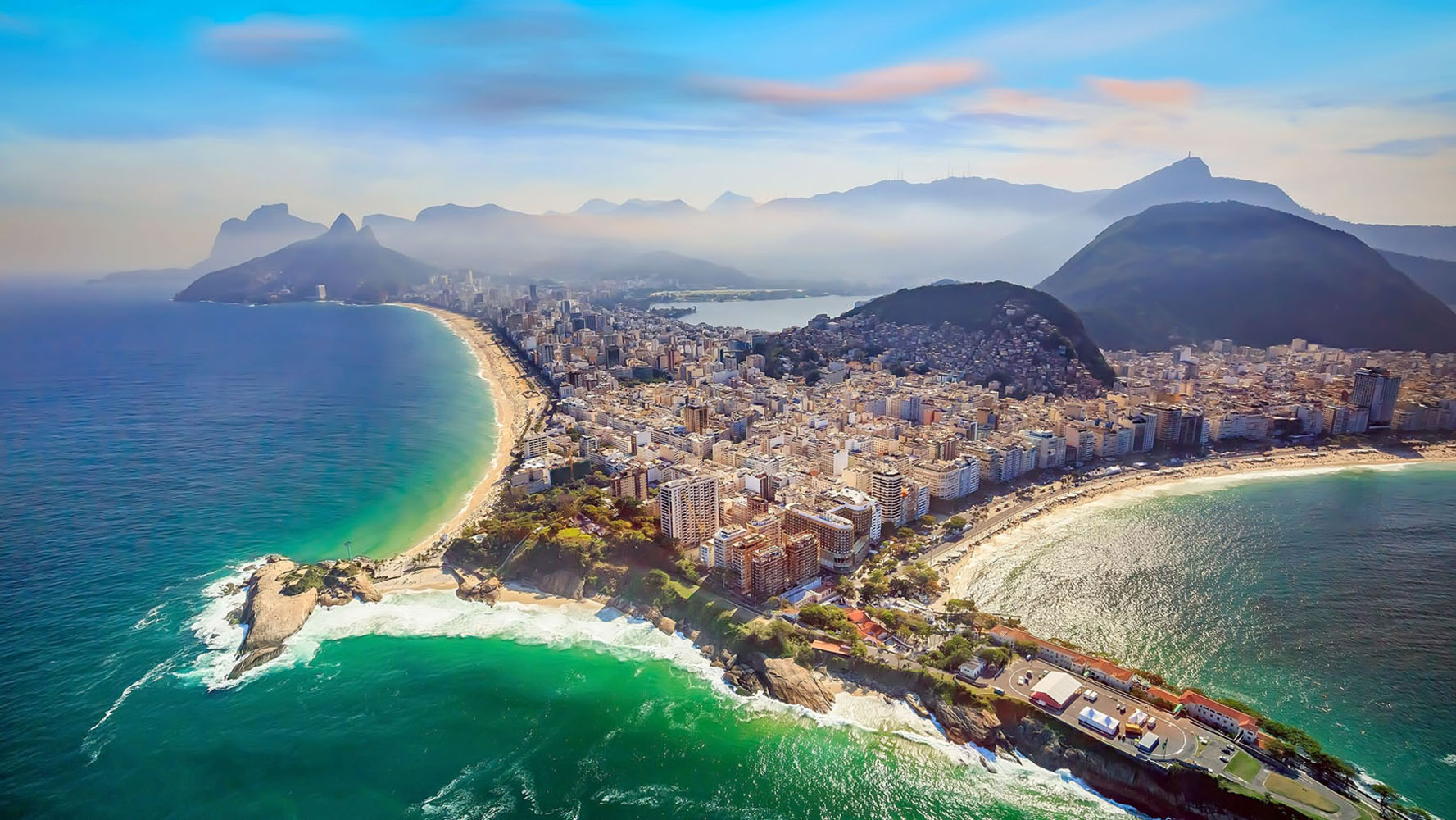 Aerial view of Copacabana Beach and Ipanema beach in Rio