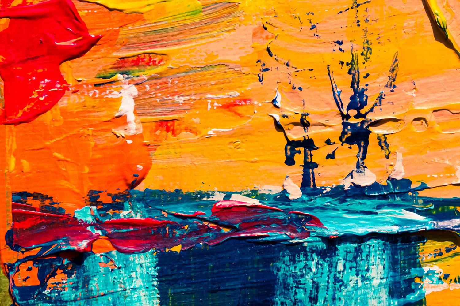 Abstract brightly coloured paint