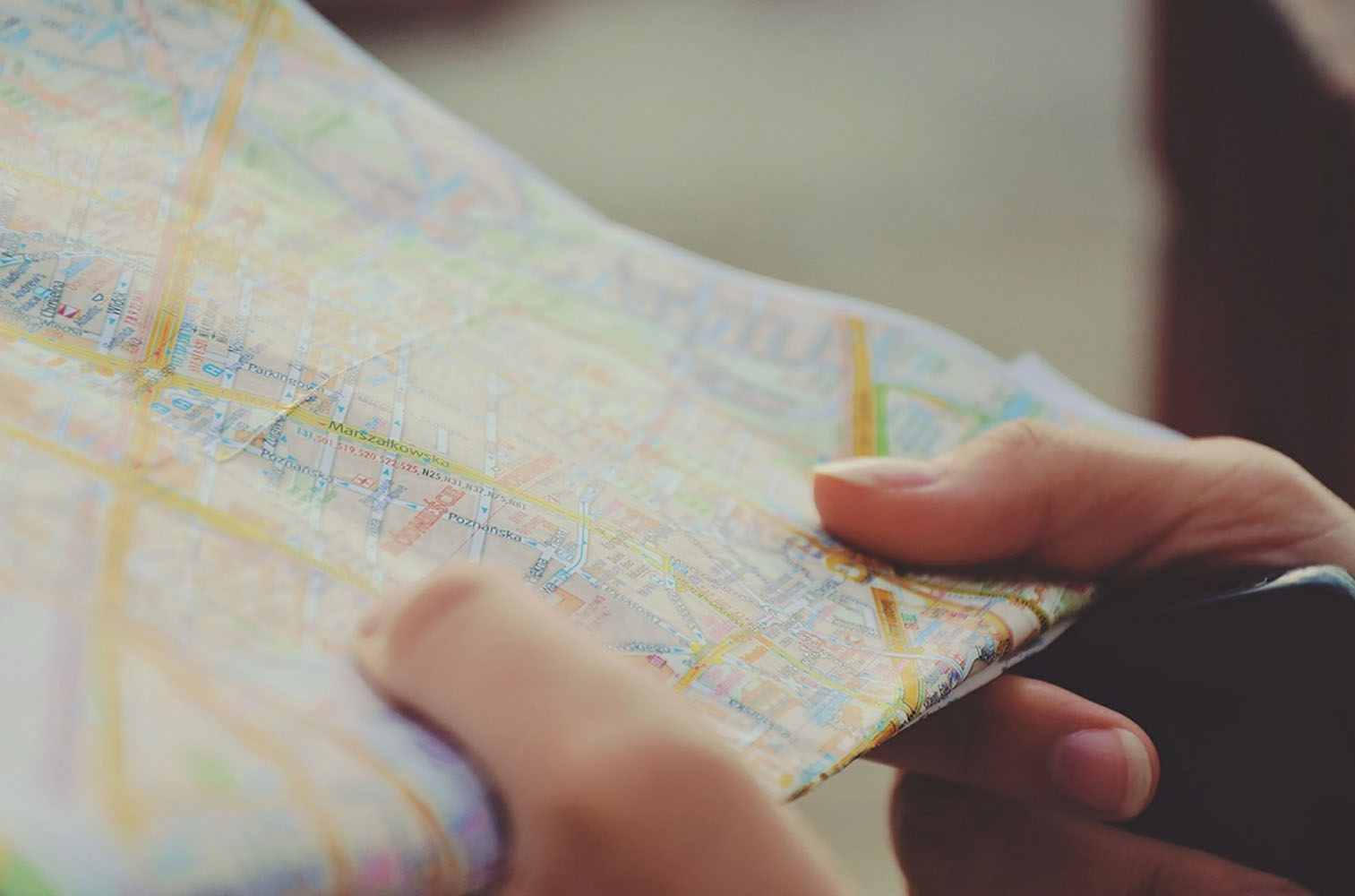Person reading map