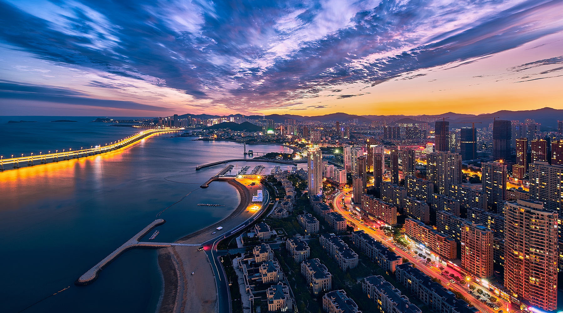An aerial view of Dalian, China