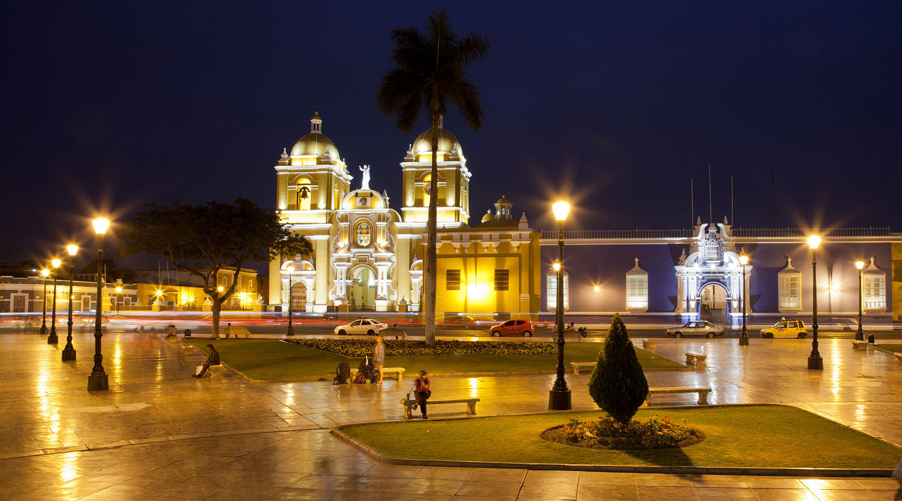 temple near street lamp during night time in salaverry peru