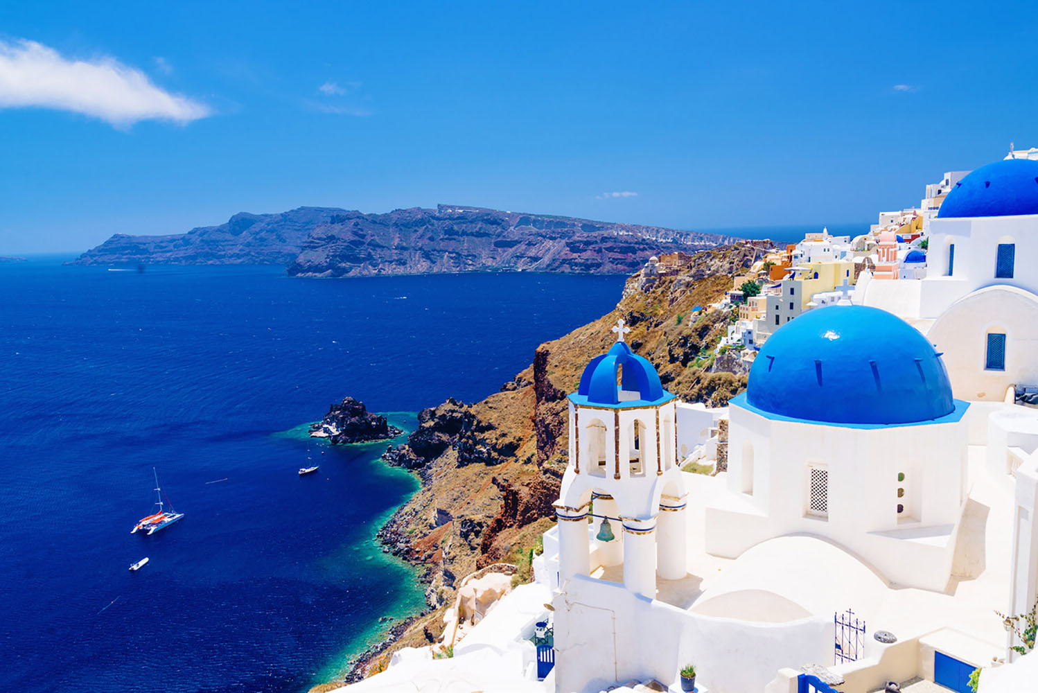 A stunning view of Santorini Greece, one of the Greek Isles