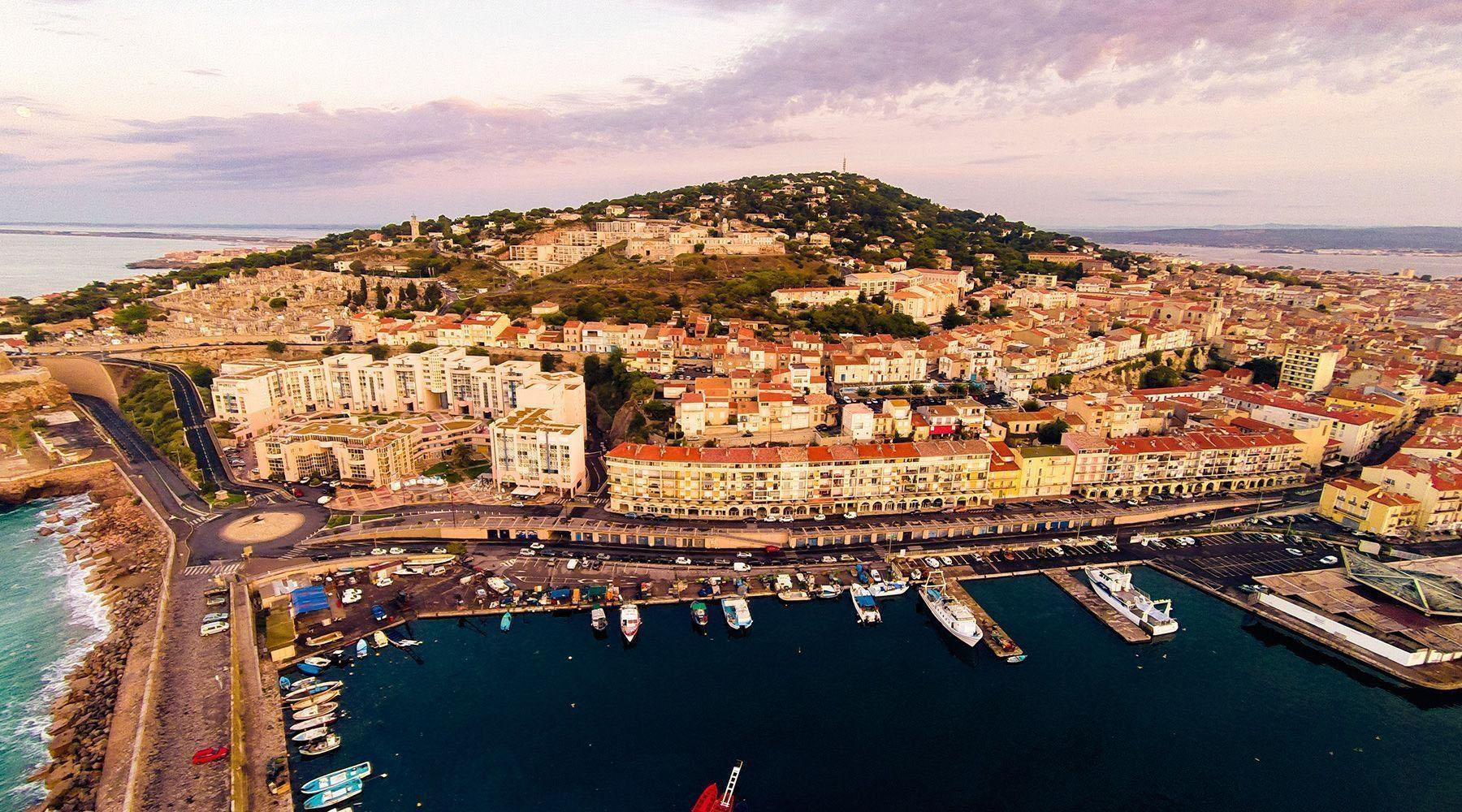 aerial view of brown houses in sete france