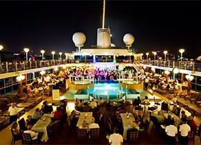 Azamara Quest pool deck at night