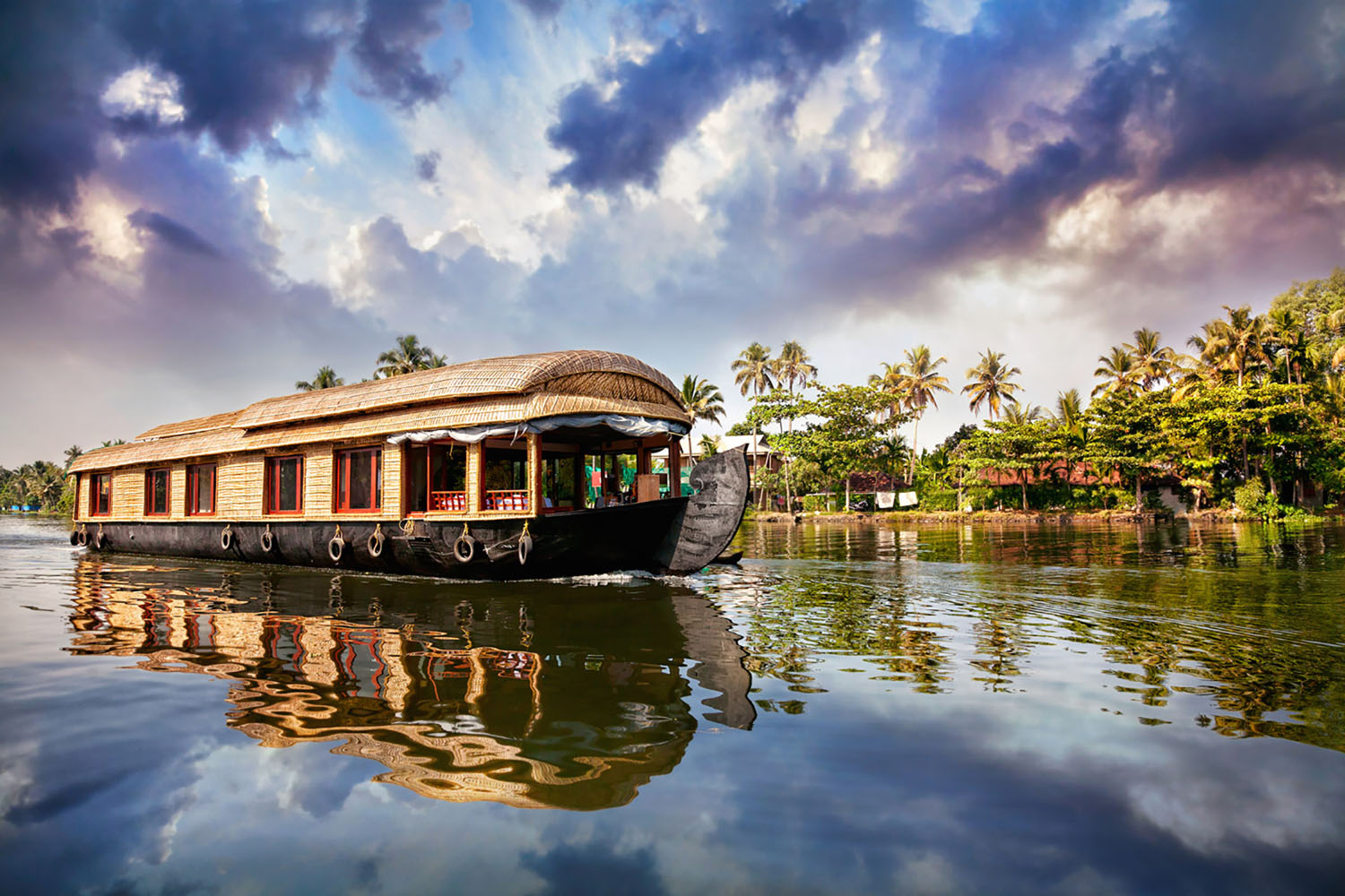 A river boat in Kerala, Sri Lanka.