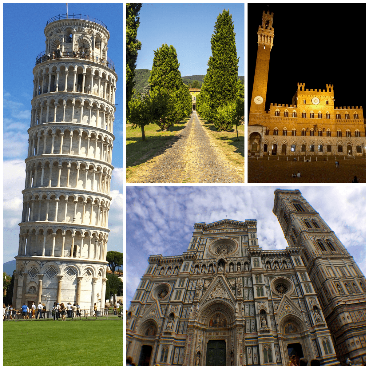 images of several historic landmarks in Tuscany