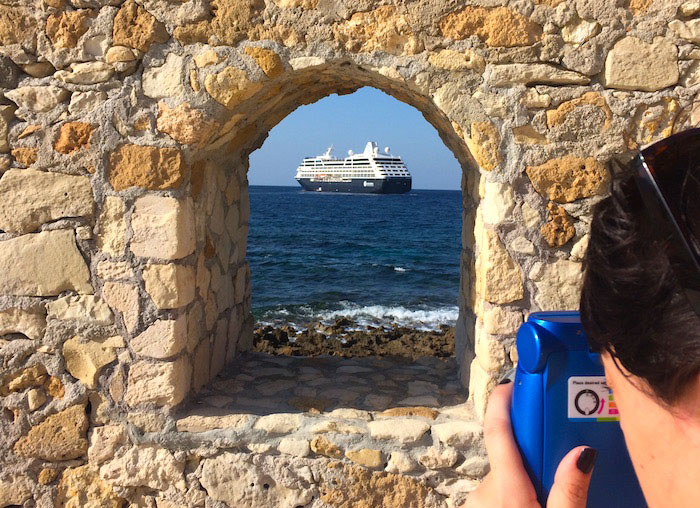 A cruise ship seen from The Maritime Museum of Crete