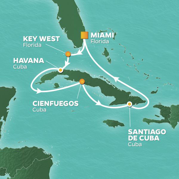 Cuba Intensive Voyage cruise itinerary map, Miami to Key West with various stops in Cuba