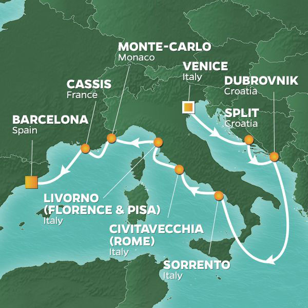 Gondolas and Rivieras cruise itinerary map, from Venice to Barcelona
