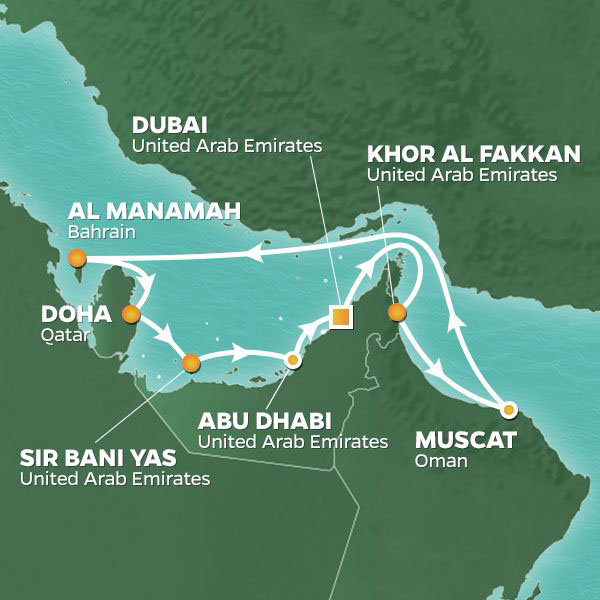 Arabian Gulf and Emirates cruise itinerary map, with stops throughout the UAE