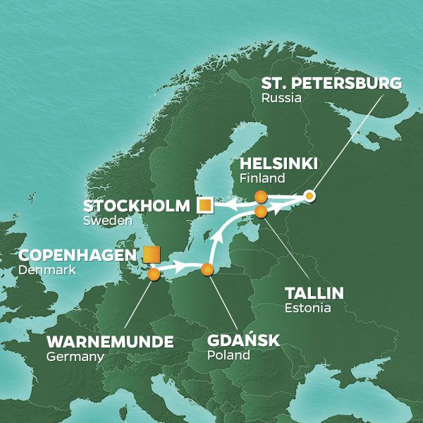 Romantic Baltic and Golf cruise itinerary map, with stops in Germany, Poland, Estonia, Russia and Finland