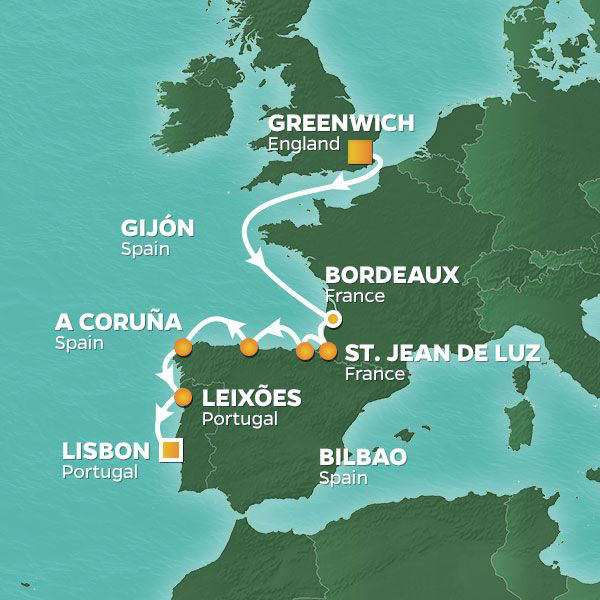 Wine and Romance cruise itinerary map, England to Portugal with stops in France and Spain