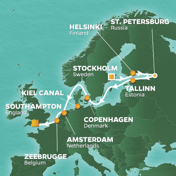 Baltic and World Cup Voyage cruise itinerary map, Sweden to England with stops in Estonia, Denmark, and the Netherlands