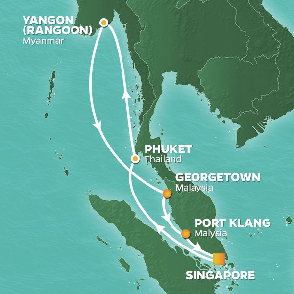 Myanmar's Mysteries cruise itinerary map, Singapore to Rangoon with stops in Thailand and Malaysia