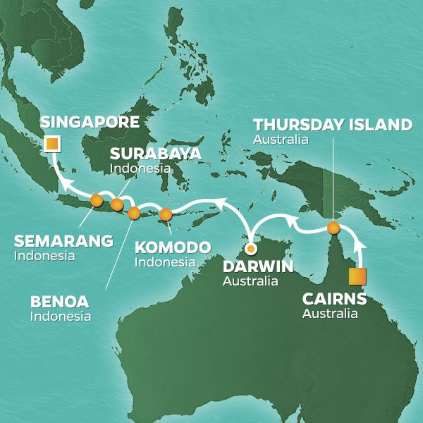 Australia and Indonesia cruise itinerary map, from Cairns to Singapore
