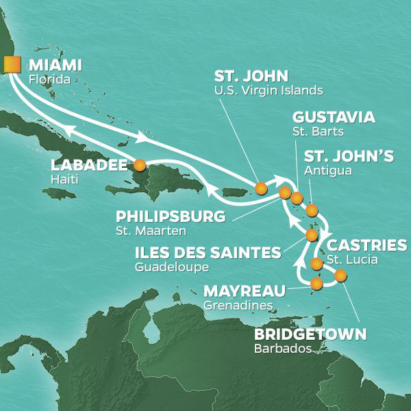 Caribbean Intensive cruise itinerary map, with stops in the Virgin Islands, Antigua, St. Lucia, Barbados and Haiti