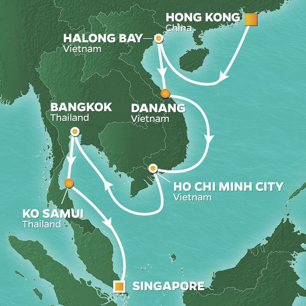 Vietnam and Thailand cruise itinerary map, from Hong Kong to Singapore