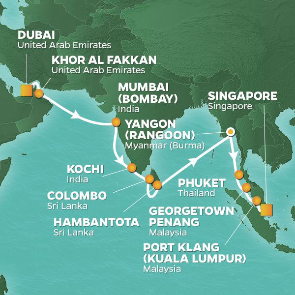 The Spice Route cruise itinerary map, Dubai to Singapore