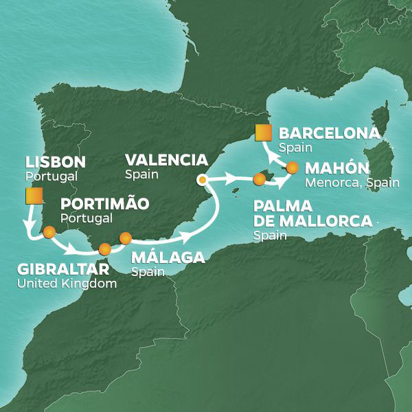 Iberian Exploration cruise itinerary map, from Lisbon to Barcelona