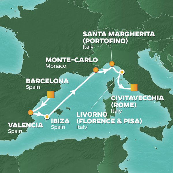 Mediterranean Splendors cruise itinerary map, from Barcelona to Rome