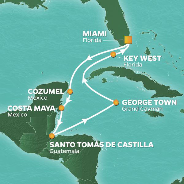 Caribbean Breezes cruise itinerary map, with stops in Mexico, Guatemala, and Grand Cayman